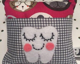 Pug Tooth Fairy Cushion. Made in Cornwall.