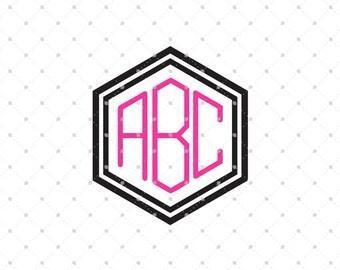 Hexagon Font svg, Monogram font svg, Digital Font, svg files for cricut, silhouette files,cutting files, instant download, svg files