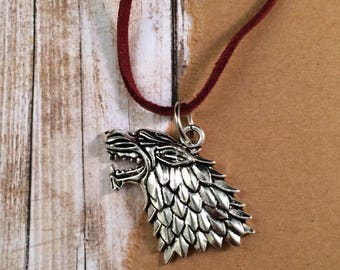 Men's Celtic Wolf Necklace - Silver Tone Pendant - Dire Wolf - Long Rust Red Cord