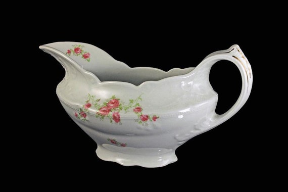 Antique Gravy Boat, Wood and Son, Royal Semi-Porcelain, Pink Rose Pattern, Serving Dish, Sauce Boat, Collectible