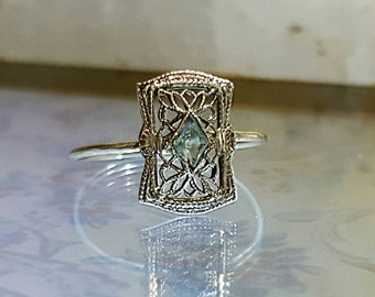 Victorian to Modern - Aquamarine in 10k White Gold Filigree Setting Ring (created from stick pin over 100 yrs old)