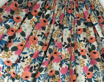 """Rifle Paper co Les Fleurs Linen High Waist 1950s Full Gathered """"Betty"""" Skirt. Custom Made to Order. Wedding / Party Outfit. UK sizes 6-18"""
