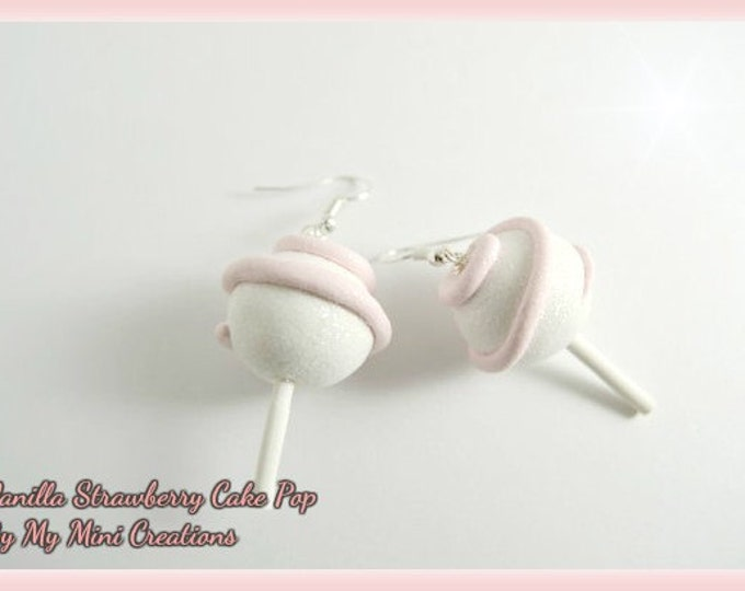 Vanilla Strawberry Cake Pop Heart Earrings, Miniature Food Jewelry, Miniature Food, Sterling Silver