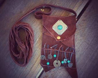 Handmade leather suede Festivil Bag ready to go