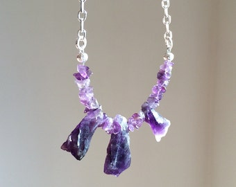 Necklace 208, Amethyst Nuggets, Sterling Silver Plated Chain