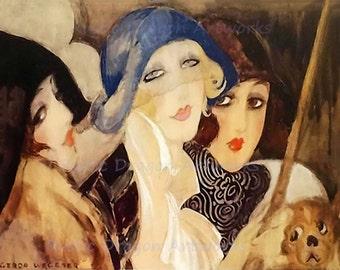 "Gerda Wegener ""3 Women Playing Pool in Hats"" Paris 1928  Reproduction Digital Print Women Beauty Dog Art Nouveau"