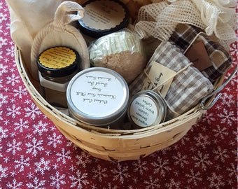 Large Wooden Gift Bucket with bath products