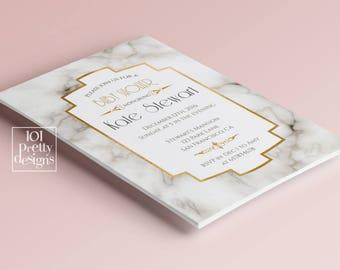 White marble baby shower invitation design gold foil baby shower printable baby shower marble gold foil baby shower invite gender nautral