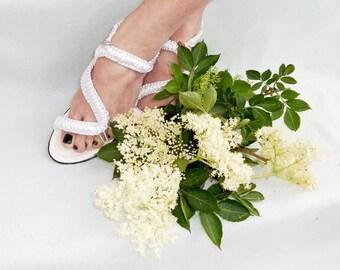 Women's Wedding Shoes, Macrame and Leather Sandals, Bohemian Sandals, Handmade Sandals, Model: ELENA
