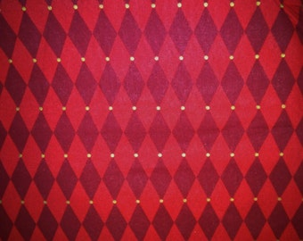 Christmas Fabric, Xmas Fabric, Red Harlequin Fabric, Quilting Fabric, Home Decor/Diy, Craft Supplies/Sewing Supplies, Fabric By The Yard
