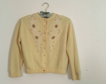 Vintage 1950s Cashmere Cardigan - Heavily Beaded Cardigan - 50s Cashmere Cardigan