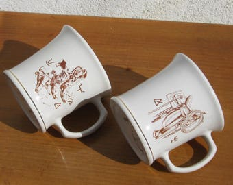 Hyalyn Cowboy Mugs, Cowboy boots and Western saddle mugs ,Vintage Western mugs