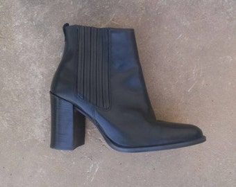 1990's Black Leather Ankle Boots, W SZ. 8