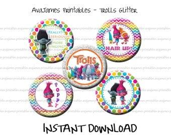 Instant Download - Glitter Trolls Bottle Cap Image Sheet