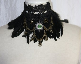 Collar - witchy spider eye - green Eye with springs