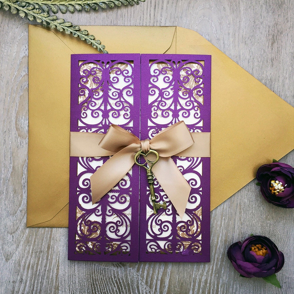 Gold And Purple Wedding Invitations: Gold And Plum Laser Cut Wedding Invitation