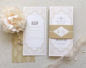 Lyla Vintage Art Deco Wedding Invitation | 1950s style Glamorous wedding suite, with RSVP & details card | Custom Colour Available