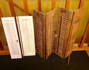 Lot of 6 Random Size Wooden Brown White Shutters Wedding Card Holder Clutter Decor