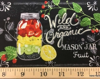 Vegetable Garden Harvest Canning Robert Kaufman Garden To Table Mason Jar Tomato Organic Fruit Black 100% Cotton Quilting Fabric BTY t4/8