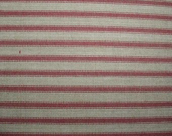 Tan and Berry Country Red Homespun Ticking Fabric Burgundy Quilting Sewing Primitive Country Home Decor Ragged Wreaths and Quilts Tea Dyed