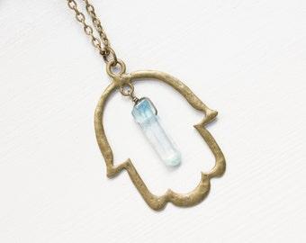 Hamsa Necklace, Hamsa Aqua Aura Crystal Necklace, Hamsa Jewelry, Hamsa Hand Necklace, Spiritual Jewelry, Healing Jewelry, Aqua Aura Quartz