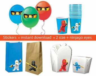 Instand DL -Ninjago Stickers PARTY FAVORS Printable Labels for Balloons, Treat bags, cups and Boxes