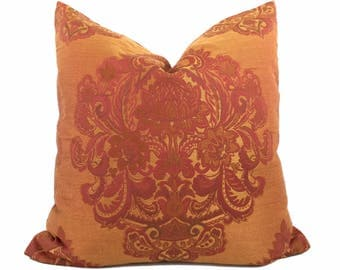 Indian Oriental Orange Rust Red Damask Medallion Pillow Cover,  Fits 22x22 Square Cushion Inserts