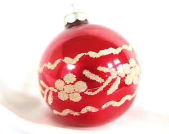 Vintage Christmas Ornament, Dark Red with Venetian Dew Flower Power, USA Ornament
