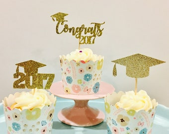 12ct graduation glitter cupcake toppers, Graduation cupcake toppers, class of 2017 cupcake toppers, 2017 graduation cupcake toppers