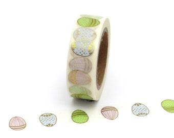 Washi Tape Easter Eggs Gold Foil Pastel 10m