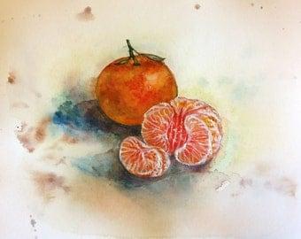 "Original watercolor painting, Oranges- still life, 8""x10"", 1701272"