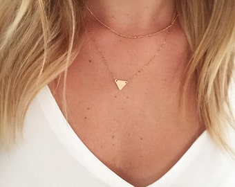Dainty Triangle Necklace Set / Satellite Chain / 14k Gold Filled