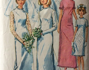 Simplicity 6176 vintage 1960's misses wedding or bridesmaid dress sewing pattern size 14 bust 34