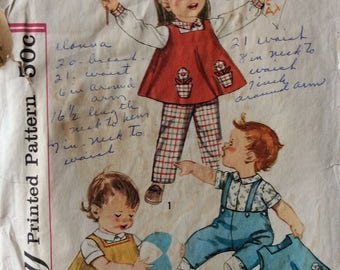 Simplicity 3693 toddlers blouse, top and pants size 1 vintage 1960's sewing pattern
