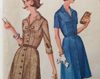 McCall's 6436 vintage 1960's misses coat dress in half sizes sewing pattern size 16 1/2 size 16.5 bust 37  Uncut  Factory folds