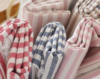 Strip fabric, Stripe cotton fabric, Yarn dyed fabric, Blue stripe, Red stripe, Pink stripe, Green stripe, Grey stripe - 1/2 yard
