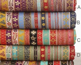 Stripy Cotton Fabric BOHO Bohemian fabric Upholstery fabric Bag Purse Cushion Fabric Heavy weight - 1/2 Yard