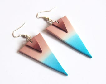 Ombre Blue Earrings ( blue brown earrings triangle earrings dangle earrings polymer clay earrings minimalist jewelry blue earrings )