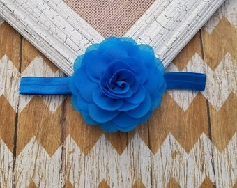 Blue flower headband, blue headband, girls headband, toddler headband, baby headband, blue flower hair accessory, summer time headband