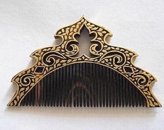 Hair Comb unique ebony wood handmade gold paint indian art