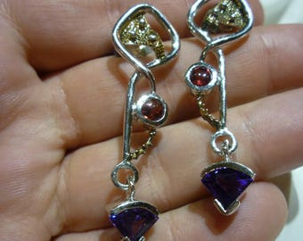 G16 Vintage Sterling Silver & Gold Post Earrings with Stones.