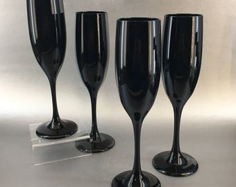 Libbey USA Black Amethyst Vintage Set of 4 Champagne Flutes Wine Glasses