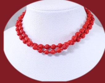 Vintage Statement Necklace Choker Red Glass Choker Vintage Jewelry Double Strand Choker Elegant Necklace Costume Jewelry Gift For Her