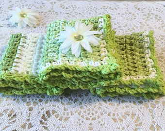 Crochet Dishcloth, Washcloths, Green Cotton Crochet Washcloth, Cotton Crochet Dishcloths, Cotton Dishcloth, Housewarming Gift, Ready to Ship