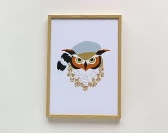 Owl Art Print - Animals in Hats - A4 or A5 Art Print
