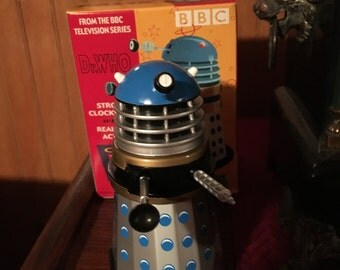 Doctor Who Blue Dalek Tin Clockwork repro toy