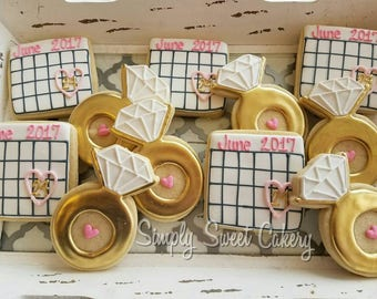 Engagement ring and save the date cookies (24 cookies)