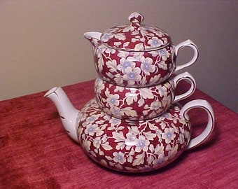 REDUCED Vintage English Chintz Lord Nelson Pottery Stacking Tea Set Brocade Pattern