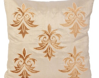 Designer Gold Pillow Cover Gold Damask Pillow Beige Embroidery Pillow Gold Pillow 14x14 16x16 18x18 20x20