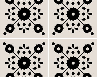 SALE!! Floor Tile Decals - Tiles for Kitchen/Bathroom Floor - Floor decals - Mexican Zinnia Pattern